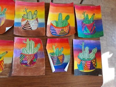 6th - Pastel and Marker Texture Cactus