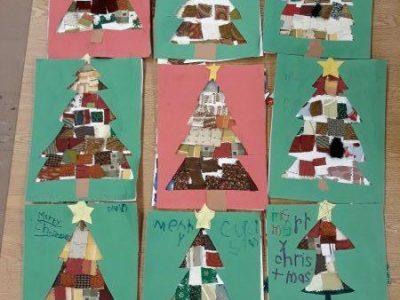 Kinder - Fabric Christmas Tree Mosaics